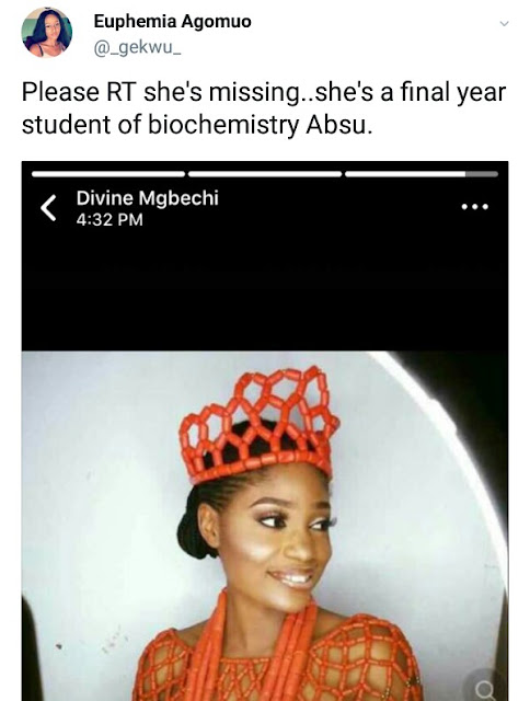 Final year female student of ABSU declared missing