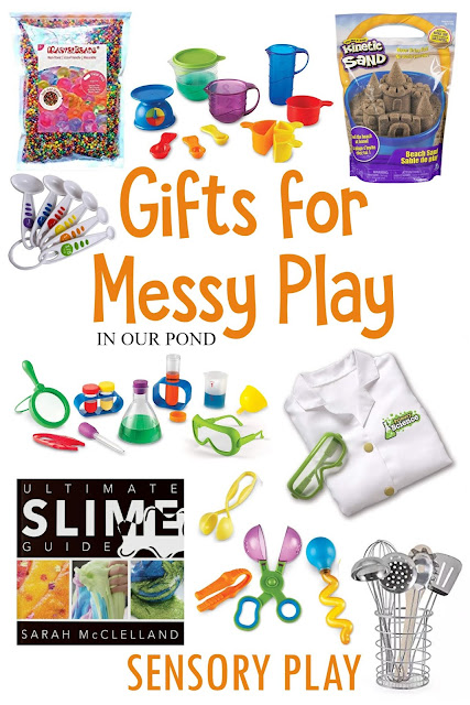 Gifts for Messy Play // In Our Pond // sensory play // slime // mud kitchen // bath time fun // kids gift guide