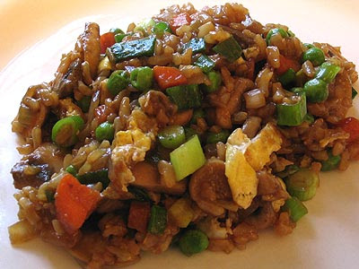 Chinese-Style Fried Brown Rice and Vegetables