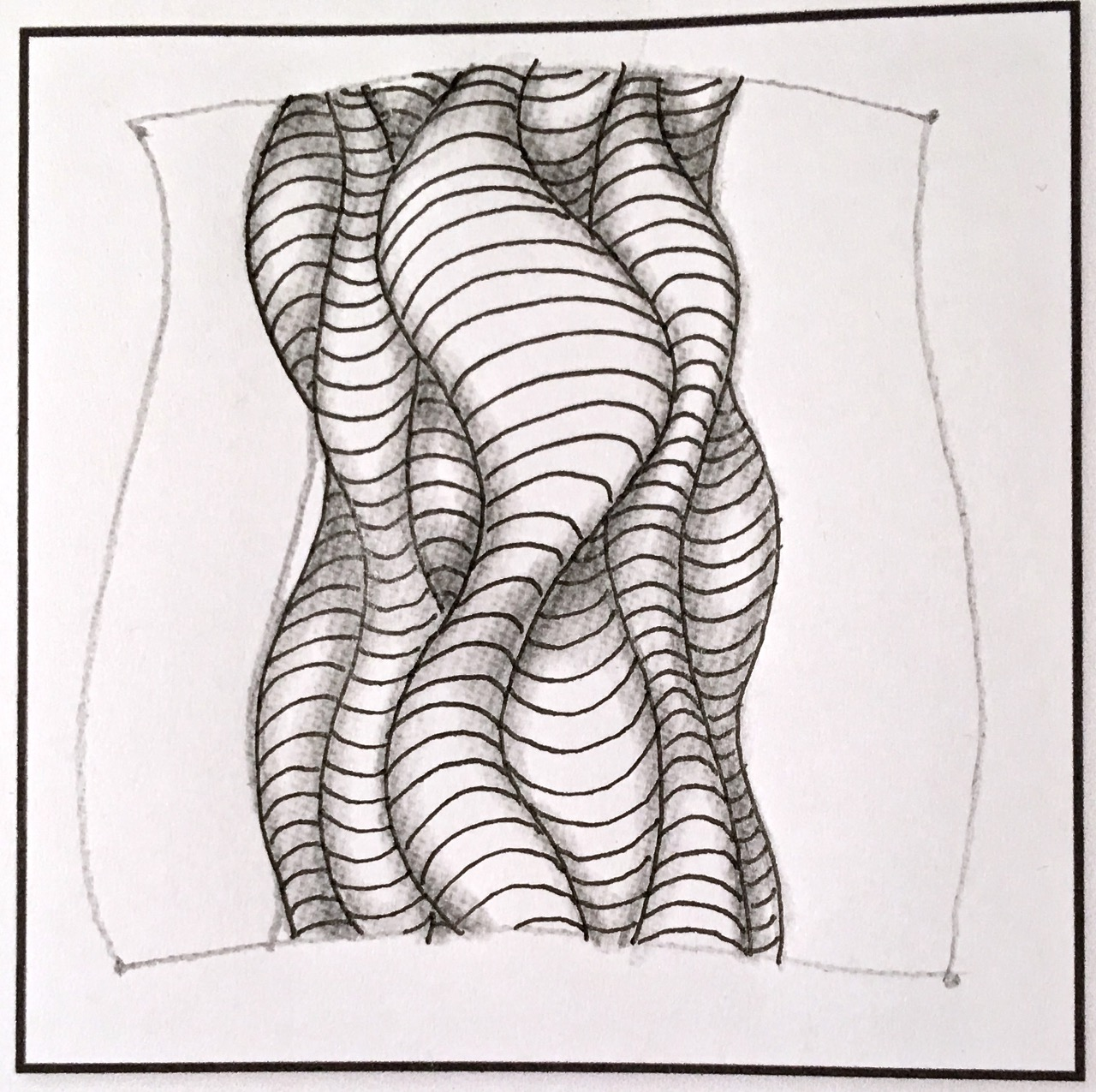 how to draw the zentangle pattern cuddles with shading and a