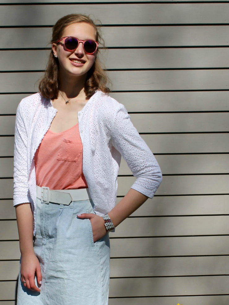 Spring look with a cute knee length skirt