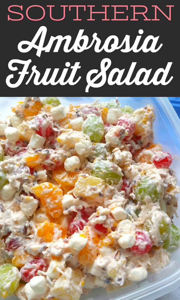 This retro fruit salad is simple and perfect with pineapple, mandarin oranges, cherries, green grapes, pecans, coconut and sour cream.