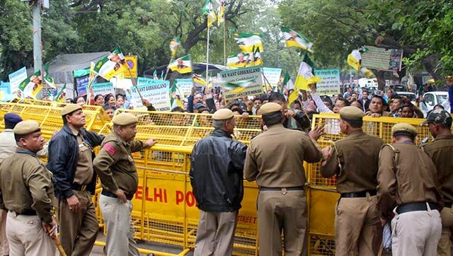 Gorkhaland supporters marching towards home minister Rajnath Singh's residence in New Delhi