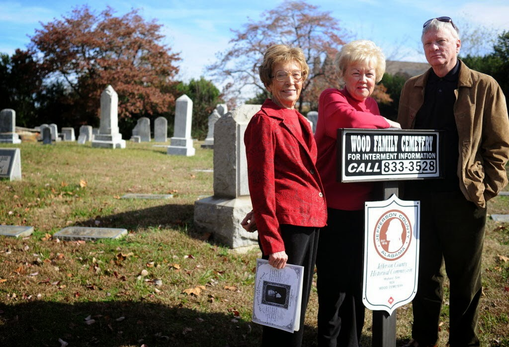 Three people in  Wood Family Cemetry