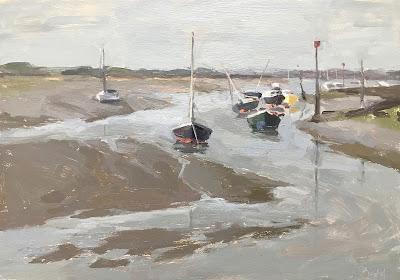 #183 'Turning Tide, Emsworth Harbour' 21x30cm