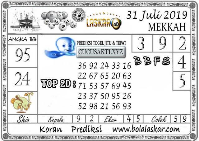 Prediksi Togel MEKKAH LASKAR4D 31 JULI 2019