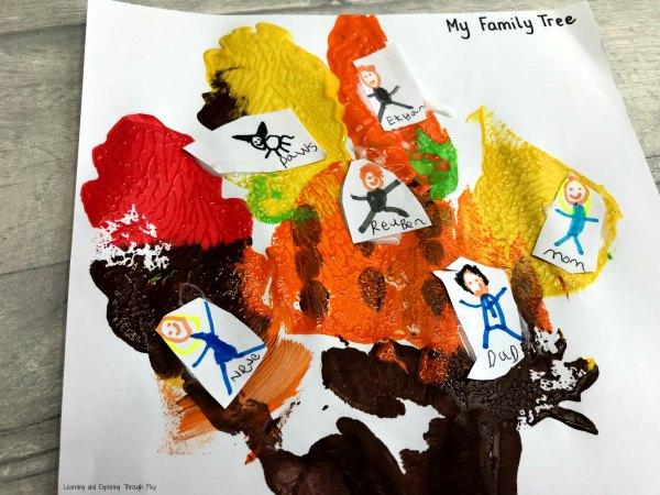 Autumn Family Tree Hand Print Craft