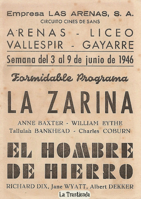 Programa de Cine - La Zarina - Anne Baxter - William Eythe