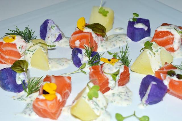 Ensalada de patatas de colores con salmón marinado - Yolanda pincholos cooking