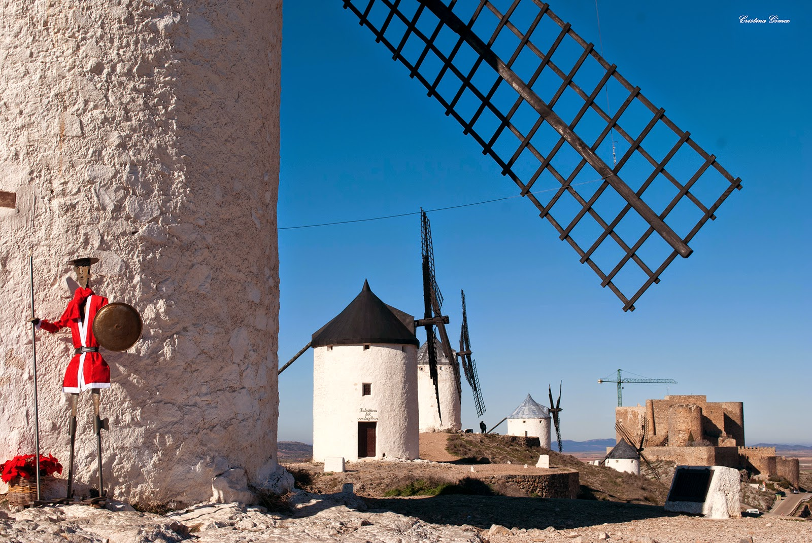 consuegra toledo spain winter windmills