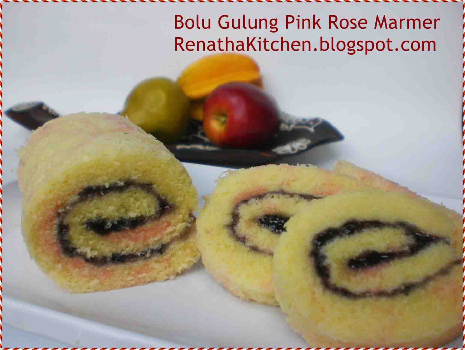 Resep Cake Pisang Ncc Fatmah Bahalwan: NCC Bolgul Week: Bolu Gulung Pink Rose Marmer By Rika