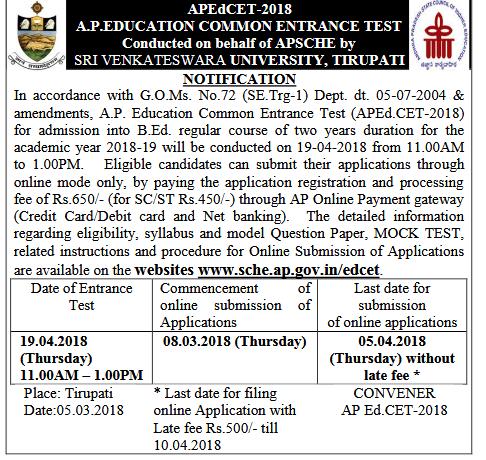 Andhra Pradesh Ed.CET AP EdCET 2018 Notification