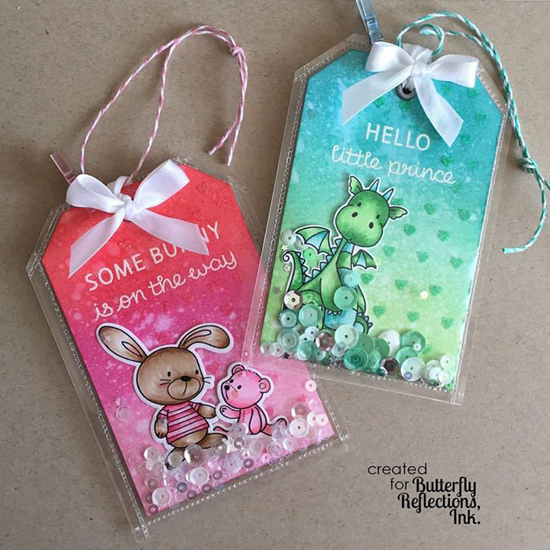 Snuggle Bunnies stamp set and Die-namics and Birdie Brown Magical Dragons stamp set - Kim Hamilton #mftstamps