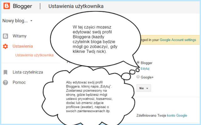 Ustawianie profilu na platformie Blogger.