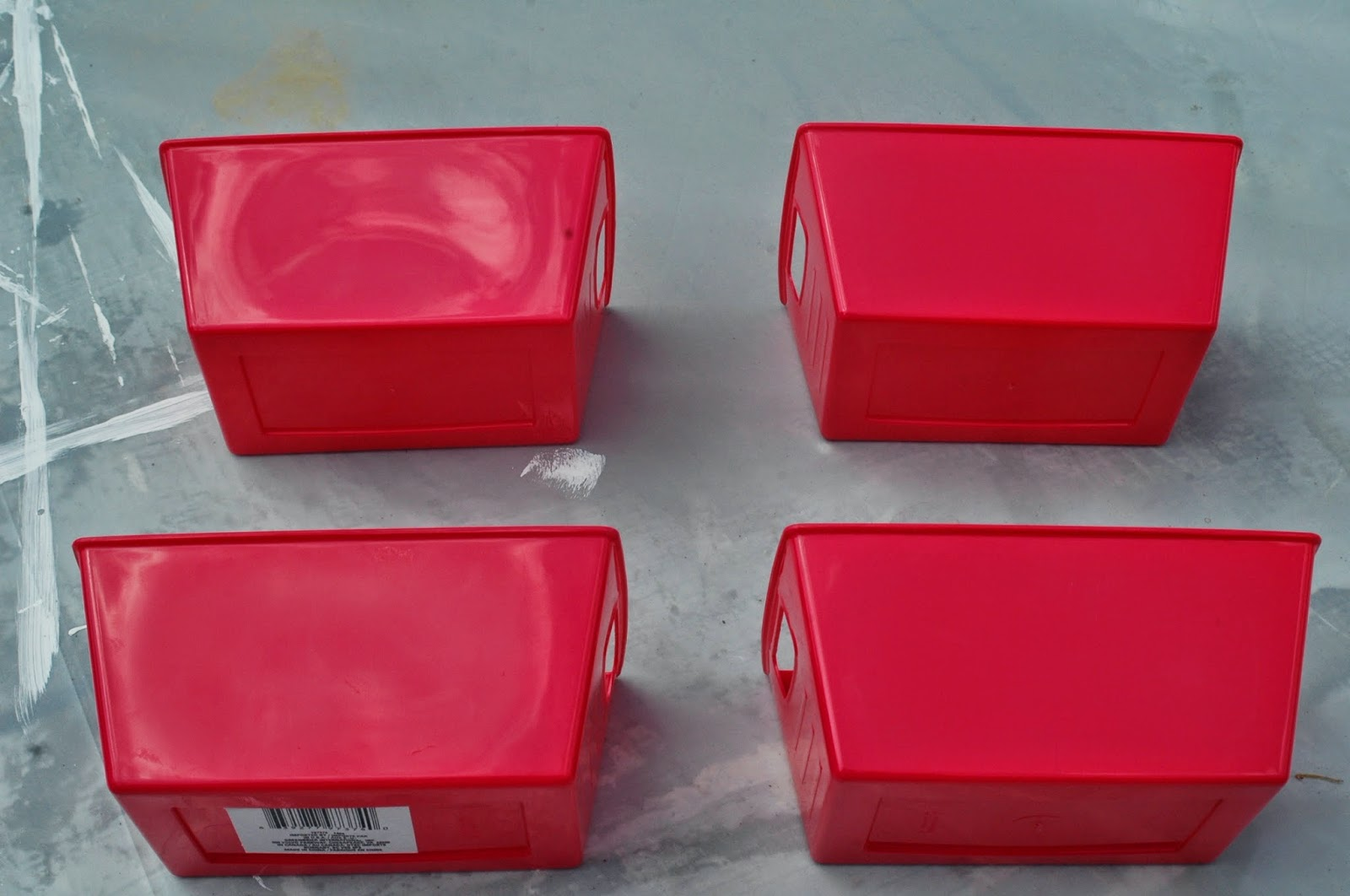 Spray painting Dollar Tree storage bins