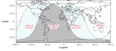 Mapa visibilidad del eclipse Lunar 28 de Noviembre 2012