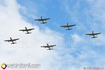 Como parte de la revista aérea programada para la ceremonia participaron aviones A-29 Super Tucano procedentes del CACOM 2