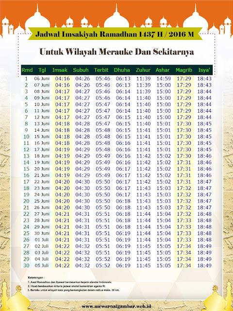 Jadwal Imsakiyah Merauke Ramadhan 1437 H