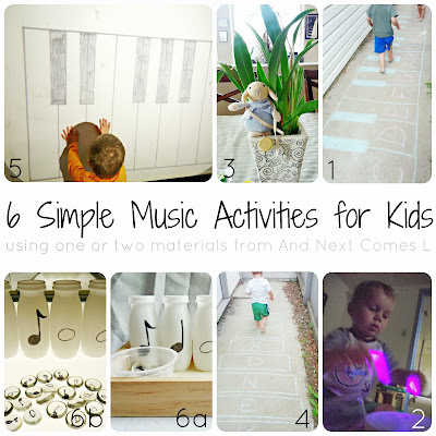 6 simple music activities for kids that use one or two materials from And Next Comes L