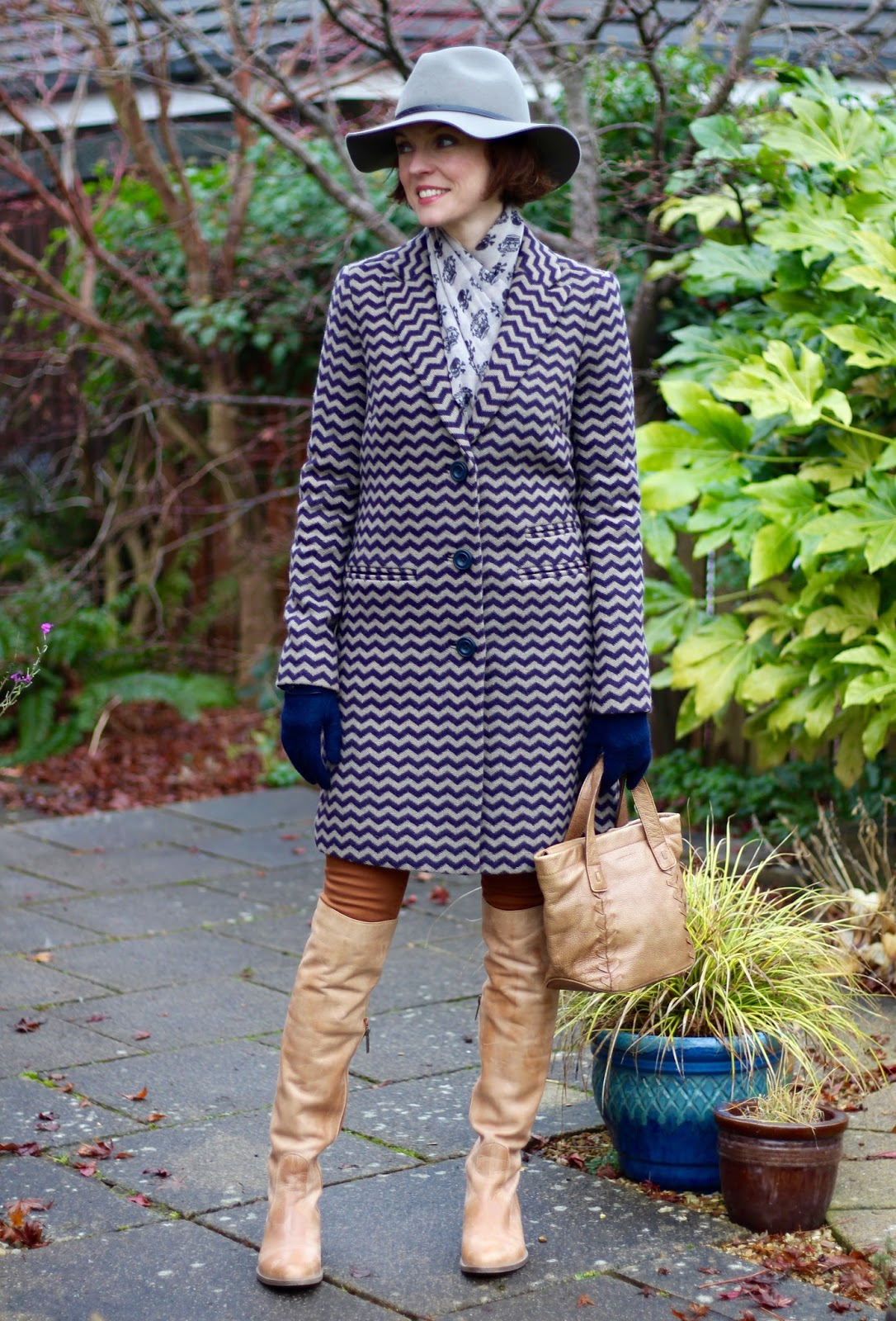 Wearing a Wide Brimmed Fedora and a patterned coat | Fake Fabulous