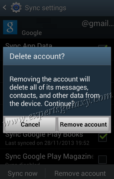 Remove Account Confirmation Message