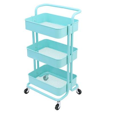 3-Tier Metal Mesh Storage Shelf Utility Rolling Cart