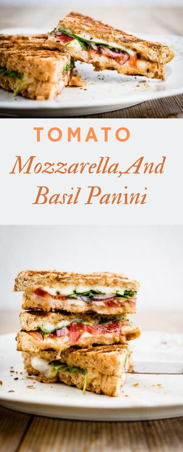 Tomato, Mozzarella, and Basil Panini #vegetarian #food