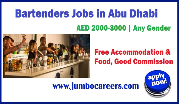 Restaurant Jobs, Male and female bartender jobs in Abu Dhabi with benefits,