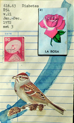 German satellite dish postage stamp mexican lottery card la rosa rose sparrow bird library card Dada Fluxus mail art collage