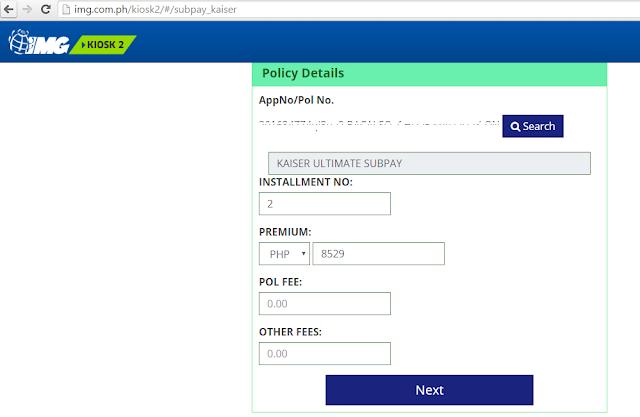 IMG online kiosk for Kaiser Subpay