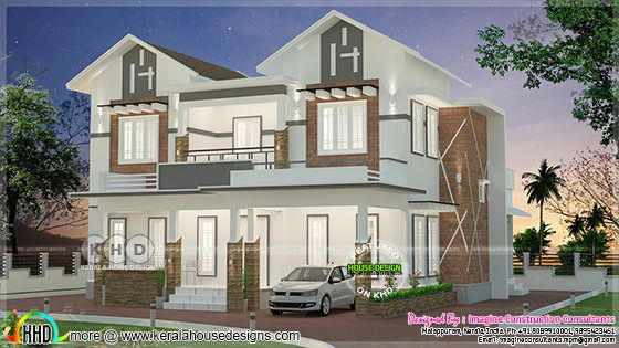 Sloping roof mix 2420 square feet home plan
