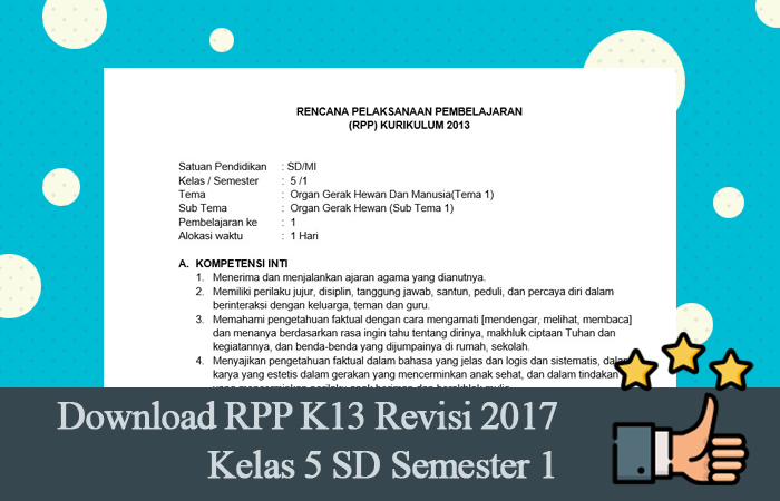 Download RPP K13 Revisi 2017 Kelas 5 SD Semester 1