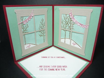 White Christmas Window Frame Corner Pop Up Card A