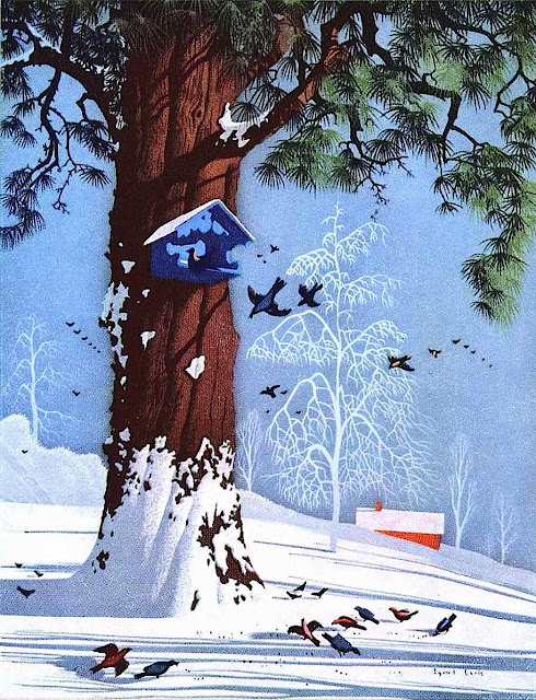 Eyvind Earle color illustration of a winter scene