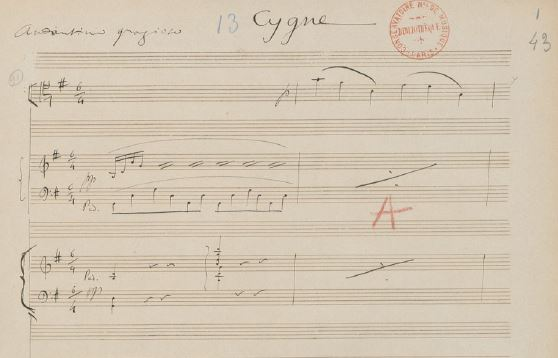 Saint-Saens - 1886 manuscript of The Swan (Cygne) from Carnival of the Animals