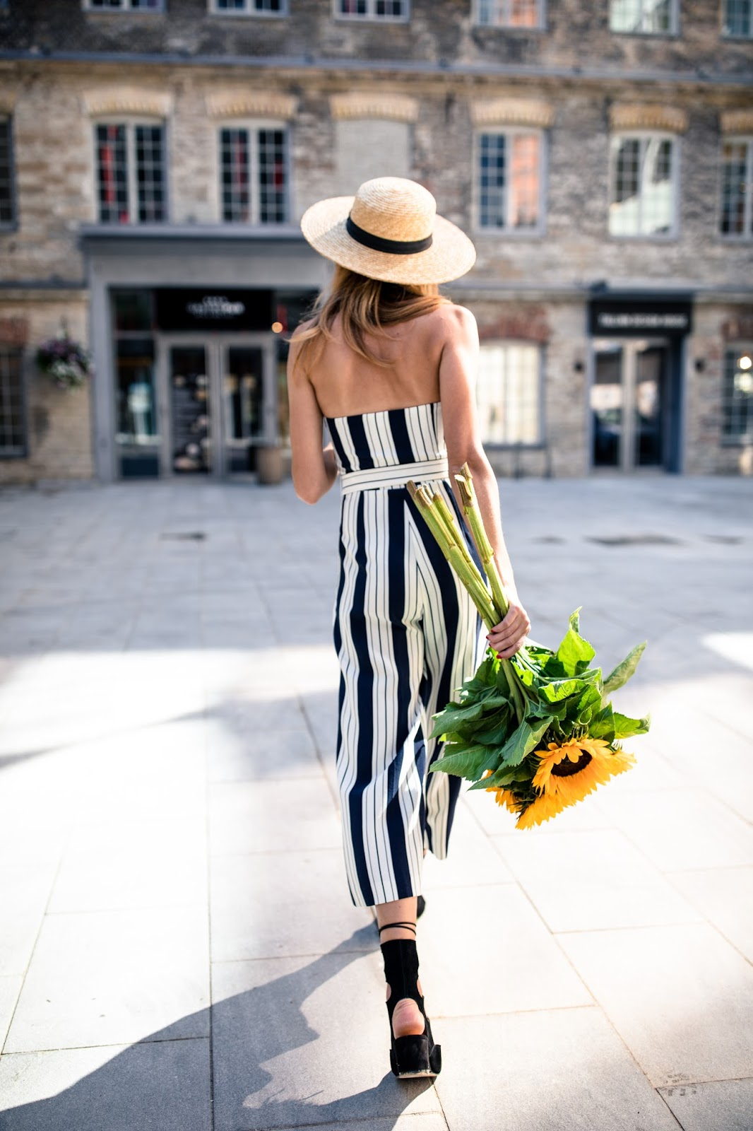 navy stripe jumpsuit outfit