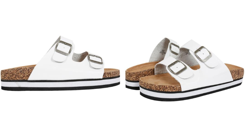 Yours Clothing Wide Fit birkenstock sandal dupes white two strap cork effect platform sandals