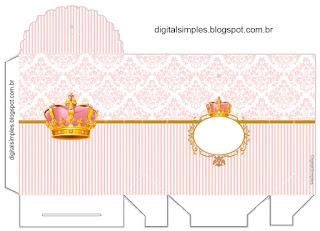 Caja para Imprimir gratis de Corona Dorada en Fondo Rosa.