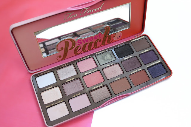 beauty, review, Too Faced Sweet Peach palette, Too Faced, best eyeshadow palette, makeup tutorial, peach eye shadow look, glam makeup tutorial