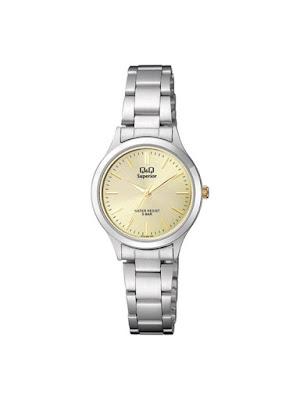 Ceas dama argintiu cu auriu casual Q&Q Classic S279J200Y ieftin frumos