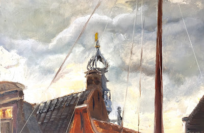 View of the carillon in Monnickendam, plein air oil on panel by Philine van der VEgte