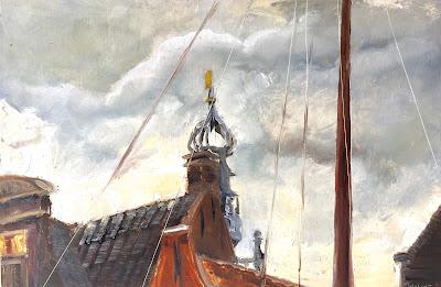 View of the carillon in Monnickendam, plein air oil on panel by Philine van der VEgte