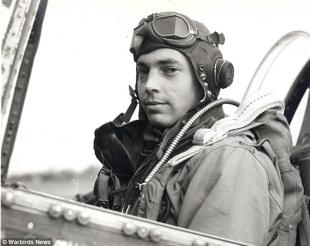 Snapshot of WWII military Pilot Bill Overstreet Jr in the cockpit of his plane. 357th Fighter Group, 363rd Fighter Squadron of the United States Army Air Forces. Photo from Warbird News. Overstreet and Mad Jack and other stories of pilots. marchmatron.com