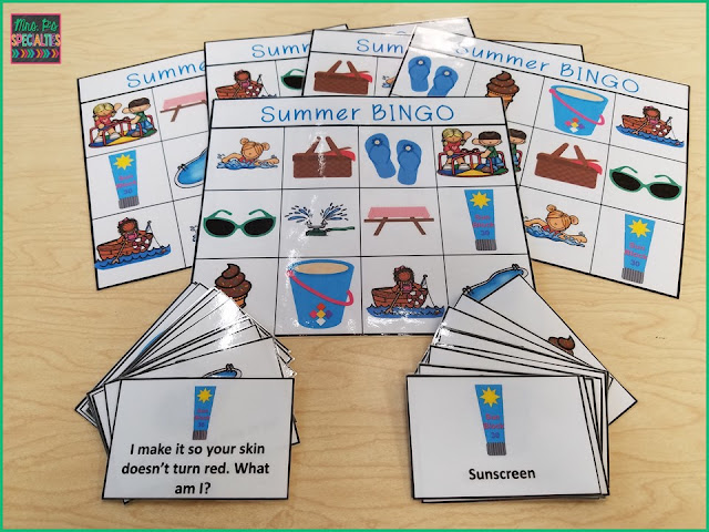 Summer BINGO Game is perfect for building speech and language skills. Especially useful for special education classrooms, speech therapists and students with autism.