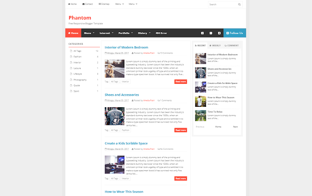 Phantom Responsive Blogger Template