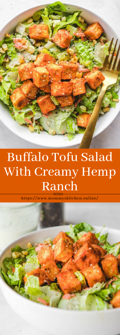 Buffalo Tofu Salad With Creamy Hemp Ranch #vegan #vegetarianrecipe