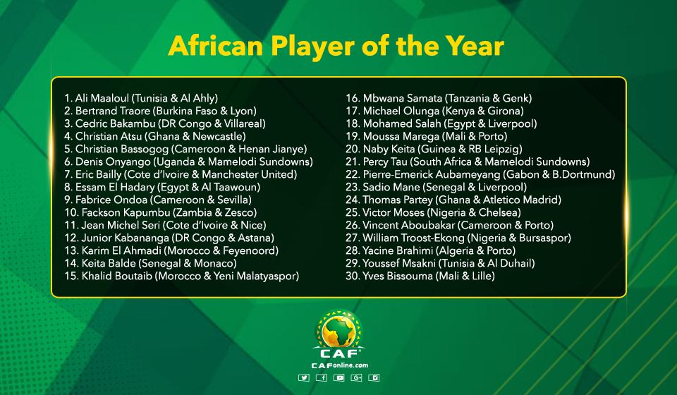 هذه هي قائمة المرشحين لجائزة أفضل لاعب افريقي ٢٠١٧ African Player of the Year