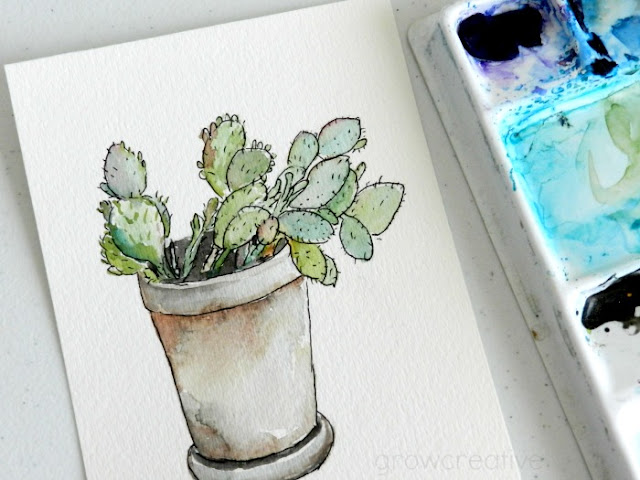 Watercolor Cactus Painting by Elise Engh: growcreativeblog