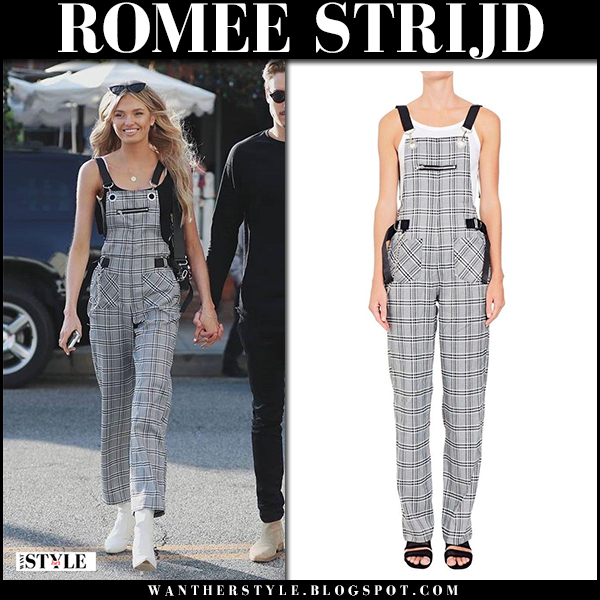 Romee Strijd in grey check overalls i.am.gia, white boots stuart weitizman and cat-eye sunglasses le specs enchantress model street style february 6
