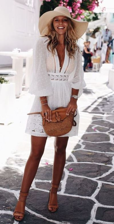 best travel outfit idea / nude sandals + white dress + bag + hat